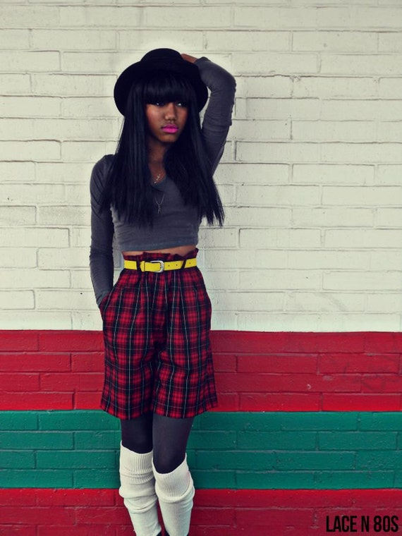High Waist Preppy Tartan Plaid Culotte Shorts