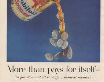 Vintage MOBILOIL Ad from December 15 1956 Saturday Evening Post