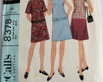 Vintage 1960s Womens Low-Waisted Belted Shift Dress Sewing Pattern Size 8-10 Sub Teen Bust 28-29 McCalls 8378