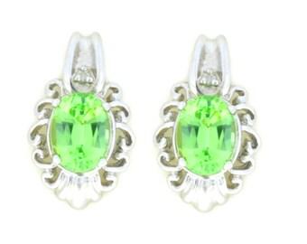 3 Ct Green Sapphire & Diamond Oval Stud Earrings .925 Sterling Silver Rhodium Finish