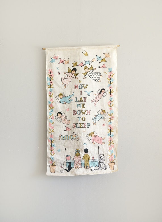 Vintage Baby Wall Decor : Vintage linen wall hanging art for baby nursery by caprockbaby