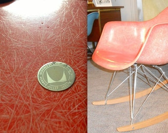 EAMES SALMON ROCKER with Designed by Charles Eames Silver Medallion Rare 3 Embossed Dots Zenith Excellent Herman Miller Rocker Rocking Chair