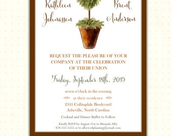 Wedding Invitation, classy, rustic, country, modern, casual, simple, elegant, garden, digital, printable, invites, W1492