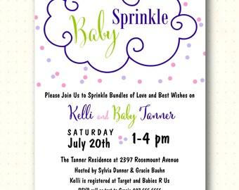 Baby Sprinkle Invitation, modern, confetti, polka dots, purple, pink, sip and see, shower, printable, digital, B1460