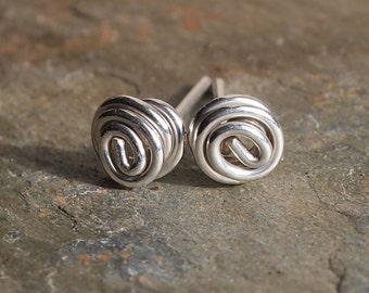 Silver studs, Argentium stud earrings, gift for her, tiny studs, twist of silver, small studs, handmade by ARC Jewellery UK.