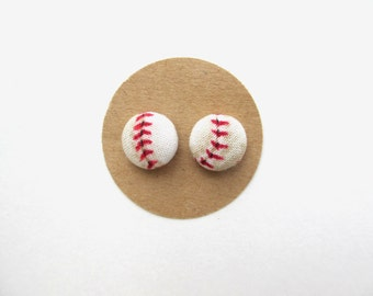 Baseball Fabric Button Earrings, Baseball Earrings, Baseball Fabric, Baseball Accessories, Sports Accessories, Sports Earrings, Sports Girl