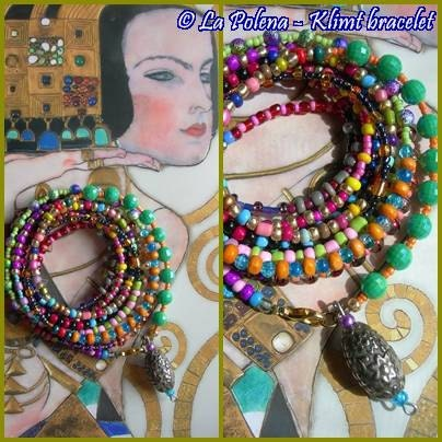 KLIMT beaded wire bracelet Boho colorful ready to ship