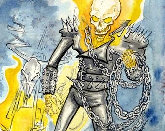 Ghost Rider, Marvel Comic Superhero, Original Watercolor Painting
