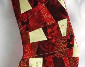 Christmas Stocking - Patchwork Festive Red