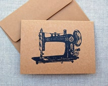 Vintage Black Sewing Machine, Note Cards/ Kraft Note Cards -Set of 4 Brown Kraft Paper Note Cards w/ Envelopes (Cards for Quilters/ Sewers)