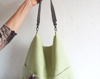 Linen tote bag, Hobo tote bag, light green  bag with lether strap, spring green tote, casual tote bag, simple tote purse