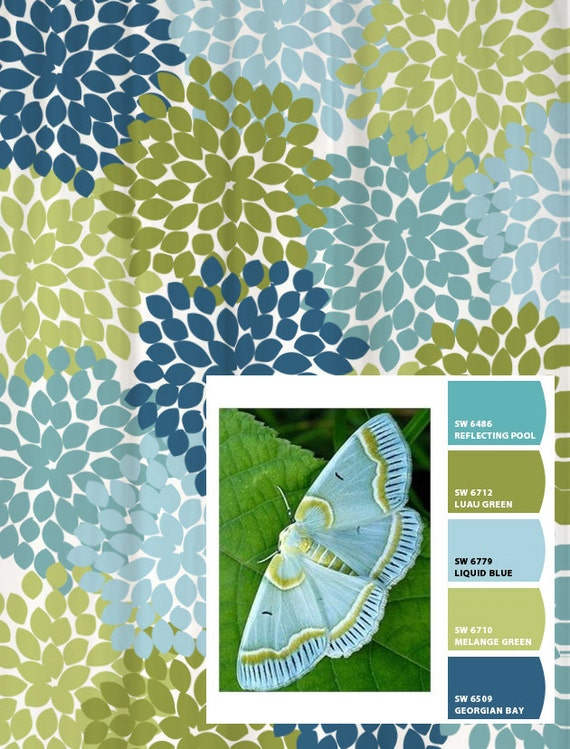 Shower Curtain in Blue and Green Moth Inspired Floral Standard and ...