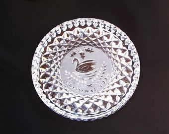 Vintage Waterford Crystal Plate, 12 Days of Christmas, 1990, Seven Swans a Swimming
