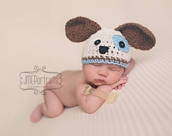 Baby Boy Hat Colorful SWEET PUPPY LUV Newborn Baby Boy Crochet Doggy Hat Dog Hat