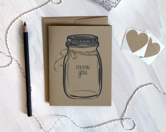 Set of 5 Rustic Kraft Mason Jar Thank You Cards, Ball Jar Cards, Rustic Wedding Cards, Wedding Thank You Notes, Stationery Set, Stationary