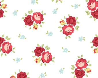 Shabby chic floral cotton fabric