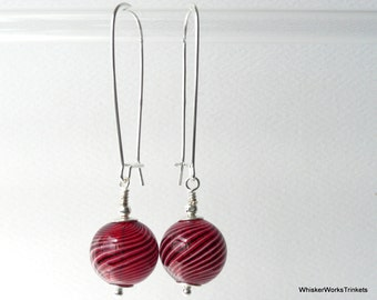 Bubbles:  Red Blown-Glass Earrings -- Red with Black & White Stripes -- Sterling Silver Kidney-Style Earwires