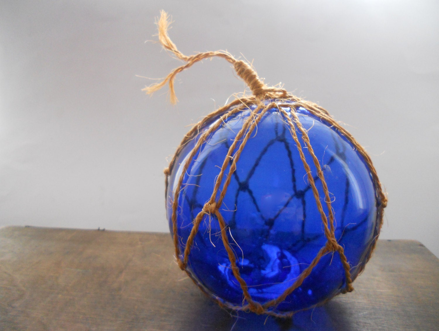 Vintage cobalt blue glass sphere large ball by