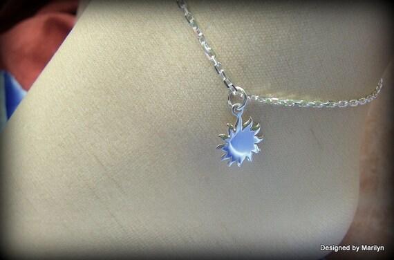 Sterling silver anklet/bracelet, celestial jewelry, sun anklet, beach jewelry, high heel anklet, wedding jewelry
