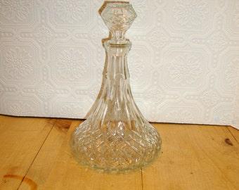 Glass Decanter Mod Vintage Clear Bottle Carafe Stopper Liquor Barware Bar Alcohol Serving