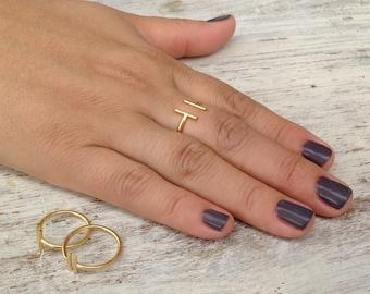 Adjustable ring, gold ring, knuckle ring, bar ring, adjustable gold ring, gold knuckle ring - 10034