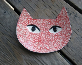 Ceramic Cat Plate MADE TO ORDER - Ceramics and Pottery - Jewelry Tray - Retro Psychedelic - Art Deco Cat - Handmade Pottery - Cat Decor