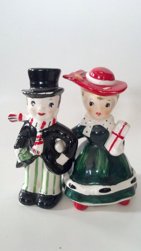 Vintage lefton shopper christmas girl amp man figurine salt and pepper
