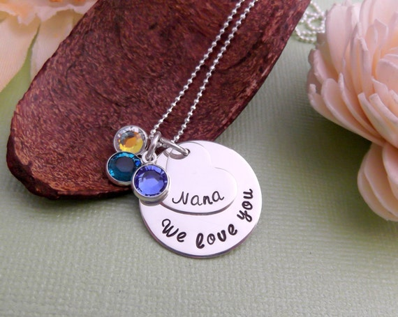 Hand Stamped Grandmother Necklace- Nana Necklace- Grandchildren Birthstone Necklace- Mother's Day Jewelry- Grandmother Necklace