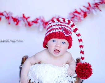 Red and White Valentine's Day Gnome Elf  Baby Hat Size Newborn to 12 months  Knitted Baby Hat  Photo Prop