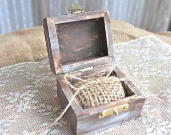 Ring Bearer Pillow Box with Burlap, Rustic Vintage Wedding