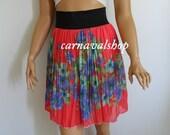 Coral Blue floral chiffon skirt,summer skirt