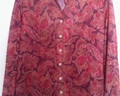 Vintage 1970s Purple and Red Paisley Womens Blouse Size Large 12/14