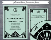 Vintage Wedding Invitation Suites, Gatsby Wedding Invitations, Art Deco Wedding, Custom Wedding, Destination, Elopement Announcement, Elope