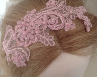 20% OFF Sale - Light Pink Embroidered Pearl Lace Metal Headband - bridal - bridesmaids - party - vacation - celebration