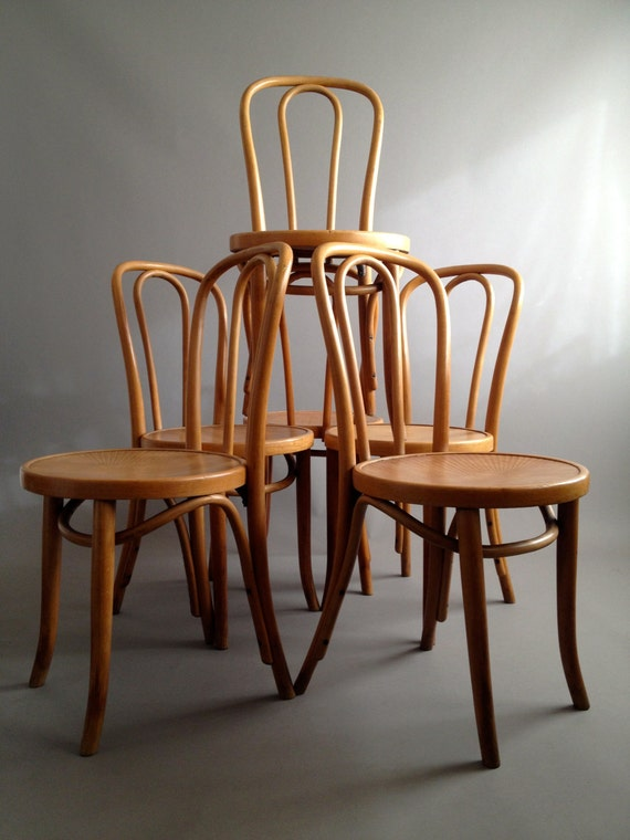 Six Original Thonet Bentwood Chairs Nicely Aged Industrial