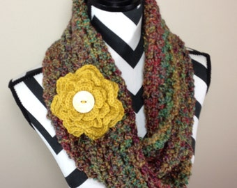 Green Red Crochet Cowl, Crochet Green Red Gold Scarf, Chunky Cowl, Fall Scarf, Mobius Scarf READY TO SHIP