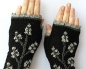 Knitted Fingerless Gloves, Black, Trees, Clothing And Accessories, Accessories, Gloves & Mittens,Gift Ideas, READY TO SHIP