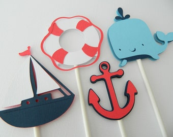12 (4 Designs) Nautical Cupcake Toppers, Cupcake Toppers, Sailboat Cupcake Toppers, Anchor Cupcake Toppers
