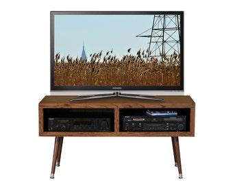 Mid Century Modern TV Stand - Mayan Double Bay Mocha