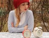 BLACK FRIDAY / Christmas sale / Red hat felt cloche women hat wide brim hat vintage style handmade hat, gatsby style
