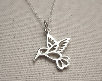 Sterling Silver Hummingbird Necklace - Nature Jewelry, Woodland Necklace - Mothers Day Gift