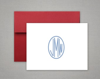 Personalized Stationery - Circle Monogram and Colorful Envelope - Personalized Stationary