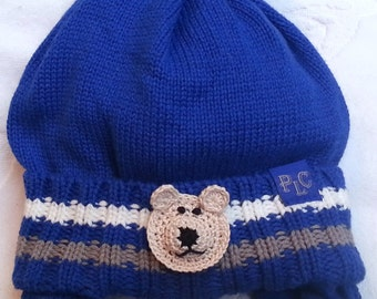 Baby Infant Toddler Boys Royal Knit Fleece Hat -  Handmade TeddyBear Face - Sizes 6-12 and 18-24 months