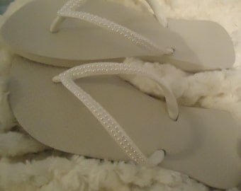 Pearl Covered White Flip Flops-Help Stop The Ivory Trade!!