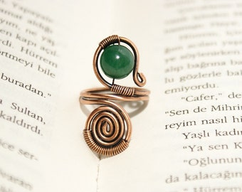 Wire wrapped ring-copper ring-jade ring-adjustable wire wrapped copper ring -wire wrapped jewelry handmade ring copper jewelry