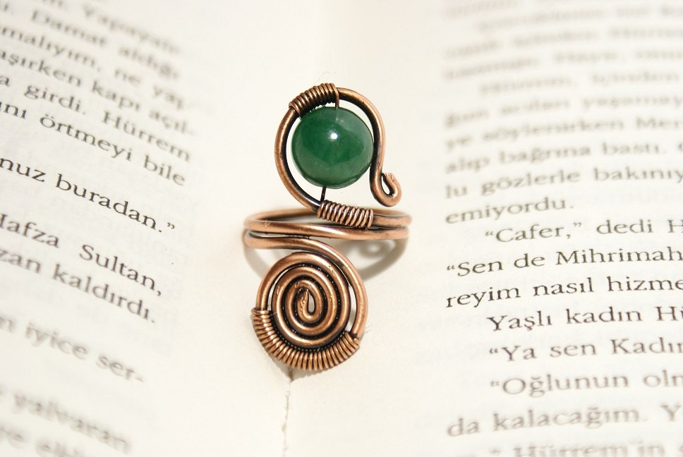 Wire wrapped ring copper ring jade ring adjustable by
