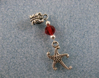 Dreadlock charm dangle with starfish and red crystal