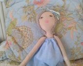 Amelia doll in 100% cotton Linen up cycled dress