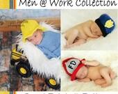 PATTERN Men at Work Hat Collection - Crochet - Fireman, Police, Construction Hard Hat