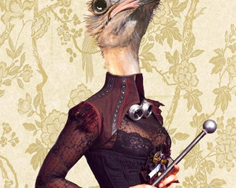 Animal painting portrait painting  Giclee Print Acrylic Painting Illustration Print wall decorative decor Wall Hanging: Steampunk Ostrich